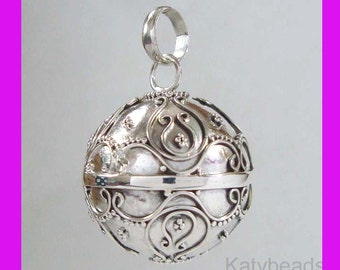 16mm Sterling Silver Small Bali Harmony Jingle Bell Ball Pendant Charm with or without cabel chain hm72