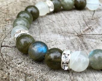 LIGHTWORKER- Green Labradorite and Moonstone Wrist Mala Bracelet.