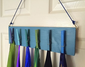Scarf organizer - Wooden clothespins in blues and greens - repurposed from scrap wood