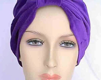 Handmade Theatrical Purple Velvet Velour Costume All Occasion Cloche Turban