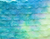 "Destash: 1"" Blue, green, yellow Tie-dye ruffle fabric. Mermaid Waters"