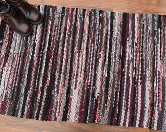 Handwoven Rug-27x45 woven from Recycled T Shirts: Grey, Black, Coral, Maroon.  Washable & Reversible