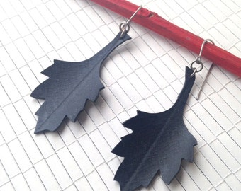 Recycled Bike Inner Tube Earrings - chrysanthemum leaves - Sale Earrings