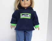 Seattle Seahawks Hoodie, Jeans fits American Girl Doll