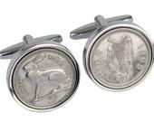 Irish Coin Cufflinks, 51st Birthday Cufflinks,  51st Birthday Gift for Men, 1965 Cufflinks