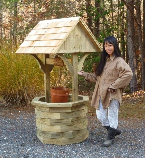 Woodworking plans 6 ft wishing well illustrated with for Garden wishing well designs