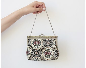 Vintage Tapestry Purse Small Evening Purse Embroidered Needlepoint Look Purse