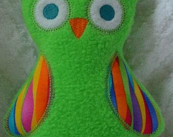 Handmade Stuffed Green Fleece Owl
