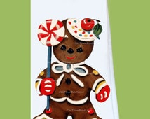 Christmas Flour Sack, Tea Towel,Gingerbread man 1, all cotton, lint free, great gift, holiday gift, hostess, Original ChiTownBoutique