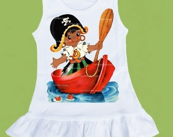 Girls Pirate Dress,Ruffle bottom Dress,Pirate Girl, African American, brown skin, baby girls dress, girls custom dress, ChiTownBoutique.etsy