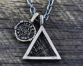 Silver Triangle Pendant Mens Necklace Chain Geometric Oxidized Jewelry