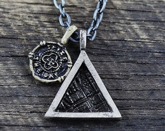 Silver Triangle Pendant Mens Necklace Chain Geometric Oxidized Jewelry