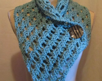 Crocheted Large Neckwarmer Collar Scarf with A Large Vintage Button.....Lite Teal