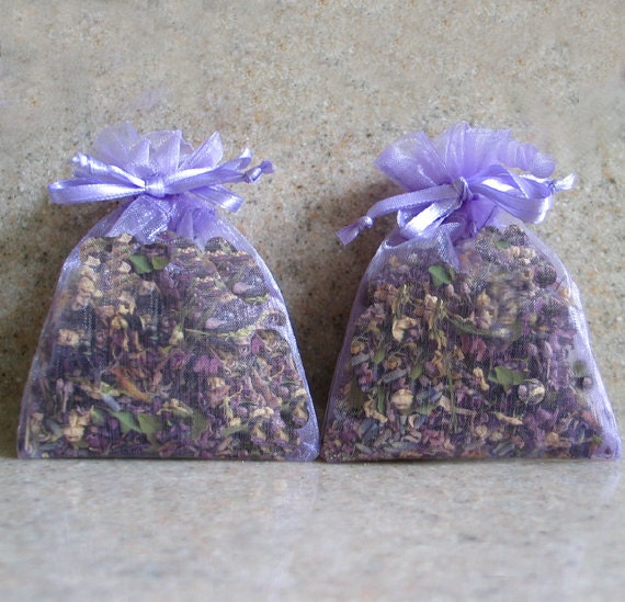 2  Lavender Floral Blend Sachets  Filled with Our Own Homemade Potpourri