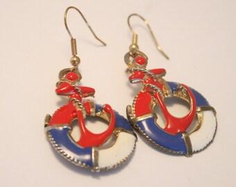 Vintage nautical earrings. Enamel earrings.  Anchor earrings