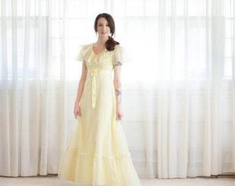 35% OFF - Vintage 1970s Party Dress - 70s Long Dress - Limonada Swiss Dot Dress