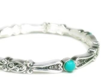 Sale| Turquoise Bangle Bracelet - Stretch Turquoise Bangle Bracelet - Bohemian Style Bracelet - Minimalist - Stacking Bracelet - Turquoise J