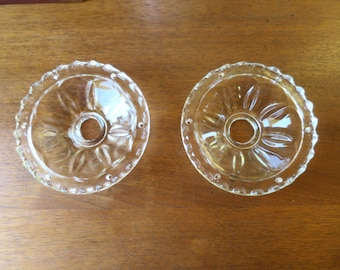 Vintage Glass Bobeche Pair Molded Clear Pressed Glass 6 Prism Pin 4 3/4 inch D. Ornate Glass Bobeches for Lamps, Chandelier or Candlestick