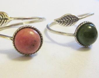 Pink Rhodonite Ring Pink Stone Ring Pink Ring Nephrite Jade Ring Green Stone Ring Green Jade Leaf Ring