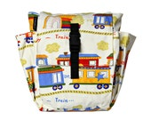 Toddler bag Cotton Children bag Kids day bag, diaper bag -Train and Railroad cars