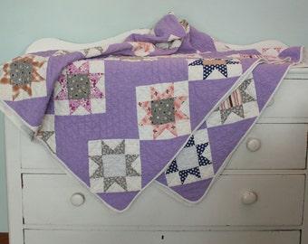 Vintage Lavender Feed Sack Patchwork Quilt