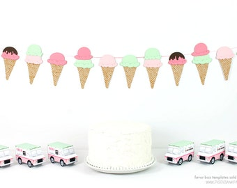 Ice Cream Cone Garland : Handcrafted Ice Cream Social Decoration | Ice Cream Party Decoration | Waffle Cone Banner | Choose Ice Cream Colors