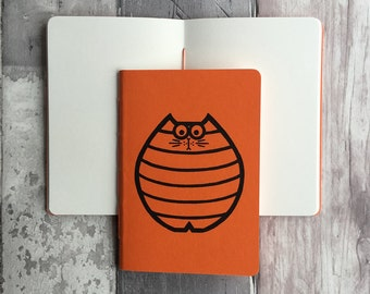 Small blank journal in orange featuring Nigel the cat - hand-printed, hand-stitched A6 pocket sized notebook