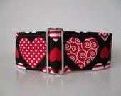 Greyhound Martingale Collar, Valentine Martingale Collar, Valentine Hearts, Valentine Dog Collar, Hearts Martingale Collar