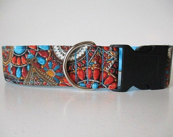 Wide Dog Collar, Autumn Dog Collar, Side Release Dog Collar, 1.5 Inch Dog Collar, Made in Canada Dog Collars, Dog Collars Canada