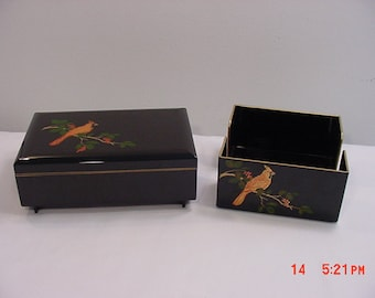 Vintage Otagiri Lacquerware Musicial Jewelry Box & Napkin Holder With Cardinal Bird On Them   16 - 24