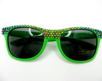 Neon Green Sunglasses With Vitrial Green Iridescent Crystal Rhinestones