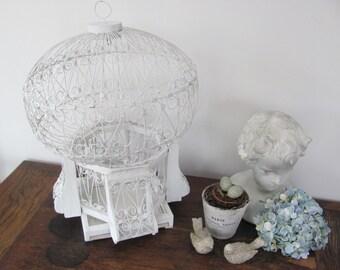 Vintage Ornate Bird Cage, White Shabby Chic Birdcage, Wood and Wire Shabby Chic Birdcage, Wedding Card Holder