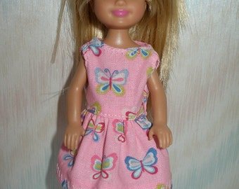 """Handmade 5.5"""" little sister fashion doll clothes - pink butterfly dress"""