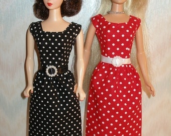 """Handmade 11.5"""" fashion doll dress -Your choice - choose 1 - red or black and white polka dot"""