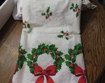 Vintage Feedsack Border Print Fabric-Christmas Wreaths-BTY-1 Yard-more available