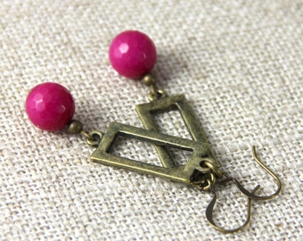 Hot Pink Drop Earrings - Magenta Hot Pink Stone Antique Brass Gold Dangle Earring - Simple Geometric Bright Pink Earring