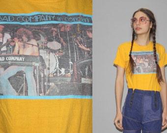 Vintage 70s Bad Company Rocker Rock Band Concert Tour T Shirt  - Vintage 1970s T Shirt  -  Wz0620