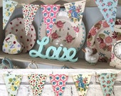 Decorative Decoupage Wooden Bunting using Cath Kidston floral designs