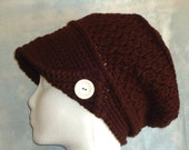 Newsboy slouchy hat, brown hat, crocheted hats, hand made hats, boho, hippie, chic