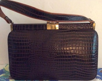 Vintage 1950s Handbag Purse Leather Reptile Embossed Made In Mexico