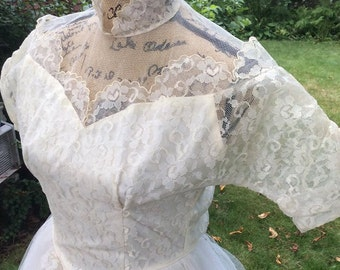 Vintage 1950s Dress Wedding Prom Formal White Satin Tulle Lace Two Layers Of Tulle