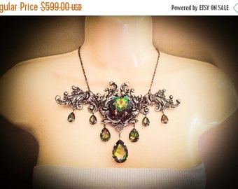 CLEAROUT SALE 40% OFF Magisterium--Swarovski vitrail crystal,ox antique sterling silver plated brass Victorian statement necklace