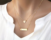 Triangle bar personalized necklace,Silver or gold or rose gold,Personalized Double Strand long layered triangle Necklace