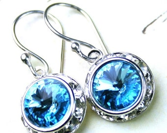 ON SALE Crystal Halo Earrings - Swarovski Rivoli Crystals with a Rhinestone Bezel Earrings in Aquamarine Blue -Sterling Silver