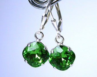 Cushion Cut Drop Earrings In Apple Green - Fern Green Earrings - Swarovski Crystal Square Stones With Sterling Silver Leverbacks