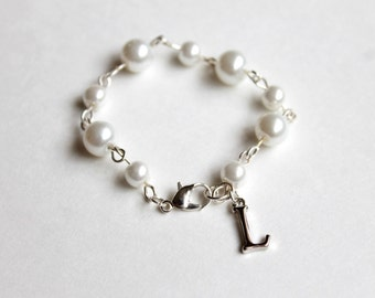 Little Girls Pearl Initial Bracelet Choose the Initial Little Girls Jewelry Little Girls Baptism Jewelry First Communion Jewelry Flower Girl
