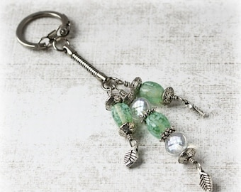 ON SALE Beaded Keychain, Keychain, Purse Charm, Bag Charm, Beaded Keyring, Decorative Keychain, Elegant Accessory, Beaded Key Fob