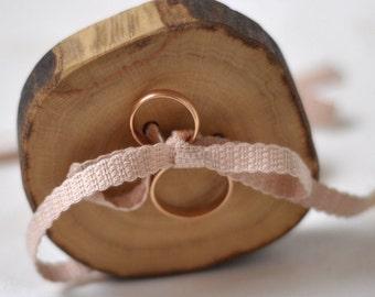 Hornbeam wood ring bearer pillow for wedding decor • ring bearer pillow