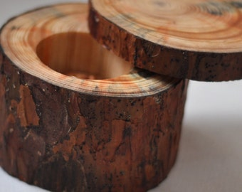 Personalized pine wood ring box for wedding decor •  ring bearer pillow