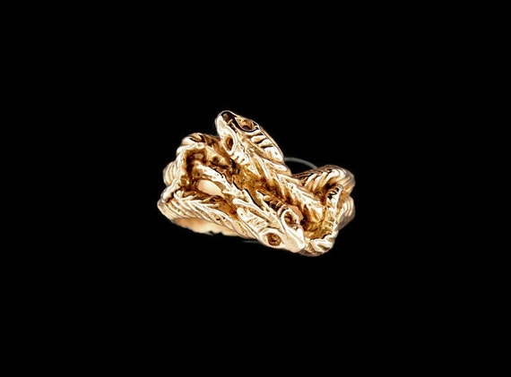 Vintage Style Twin Snakes Ring in Antique Bronze